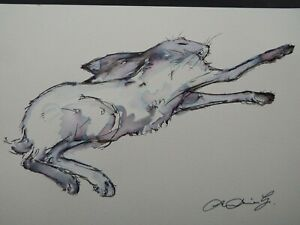 Original hand drawn pen & ink drawing of a leaping hare on watercolour paper