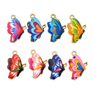 10PCS Alloy Enamel Plated Colorful Butterfly Pendant Charms for Jewelry Making
