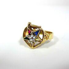 14k Yellow Gold Vintage Masonic Eastern Star Gemstone Women`s Ring Size 8.5