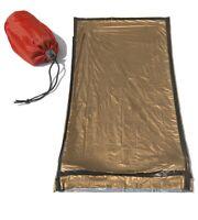 "Heavy Duty Emergency Sleeping Bag Outdoor Survival Camping 84"" x 36"" Bronze"