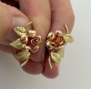 Vintage KREMENTZ 2-Tone Gold Plated Floral Srew Back Earrings