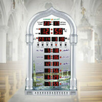 Auto Islamic Azan Wall Clock Calendar Muslim Prayer Alarm Ramadan Home Decor UK