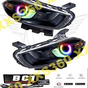 ORACLE Halo HEADLIGHTS BLACK Halogen for Dodge Dart 13-16 COLORSHIFT LED BC1
