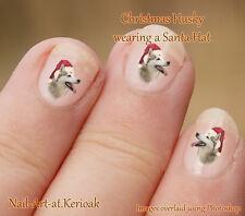 HUSKY  Christmas Santa Hat,  Set of  24 Dog Nail Art Stickers Decal from Kerioak