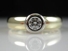 14K Diamond Engagement Ring Bezel Set H/VS Two Tone Fine Jewelry Size 6.5