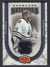 TY CONKLIN 2006 FLEER SHOWCASE STITCHES GAME USED WHITE JERSEY ~ OILERS