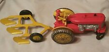 Vintage 50's Louis Marx Toy Reversible Diesel Electric Tractor With Plow ( USA)