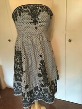 Anthropologie Moulinette Soeurs Strapless Blue Print Dress Navy Embroidery Sz 2