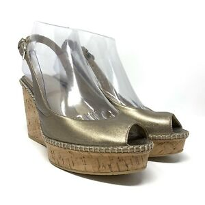 "Stuart Weitzman ""Jean"" Gold Metallic Cork Wedge Peep Toe Slingback Size 6.5M"