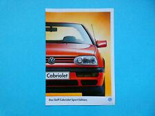 Prospekt / Katalog / Brochure VW Golf III Cabrio / Cabriolet Sport Edition 10/97