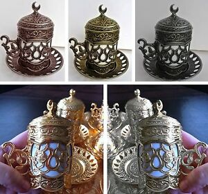 Ottoman Turkish Vintage Design Coffee Espresso Cup Saucer Copper Porcelain