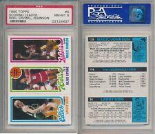 Larry Bird Celtics Magic Johnson Lakers 1980 Topps Rookie Card rC PSA 8 (NM-MT)