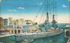 Postcard Italy Taranto Italian Navy Ship Giulio Cesare