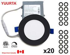 "YUURTA (20-pack) 4"" 10W Dimmable Recessed Ceiling Slim LED Downlight Black Trim"