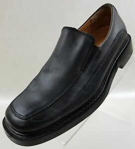 Skechers Mens Loafers Black Leather Apron Square Toe Slip On Shoes Size 9