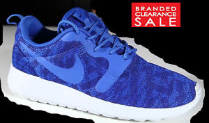 New Women Nike Roshe One Flyknit KJCRD Jacquard Blue 4.5 uk