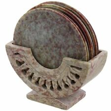 "Artist Haat 3"" Set of 6 Handmade Stone Bar Coaster Cup Mat Amazing Shaped Round"