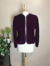 Bis Bis by Gene Ewing Vintage Open Blazer Sz M/L Velvet Like Puffed Quilt Purple
