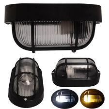 3x IP54 Oval LED Wall Lamp Lantern Black Security Bulkhead Garden Outdoor Light
