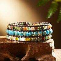 Natural Stone Turquoise Leather Braided Wristband Beaded Wrap Bracelet Bangle