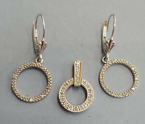 Jewelry Set 14K Solid White Gold, diamond circle dangle Earrings Pendant