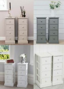 4 Drawer Pair Slim Tall Bedside Tables White  Stone Grey Bedroom Storage Unit