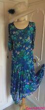 CHESCA Blue Floral Mesh DRESS Suit Mother of the Bride Wedding PLUS Size 24 26
