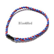 "Titanium Ionic Sports Baseball Necklace 20"" 3-rope Tornado Braid BH"