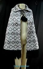 Tapestry fringe Jacket duster swing Cloak Wrap Cape Poncho free size tassel NEW