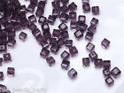50pcs 4mm Cube Square Faceted Crystal Glass Loose Spacer Beads Bluish Violet New