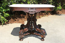 Large Fancy Walnut Victorian Marble Top Table With Ornate Stretcher Base  Ca.1870