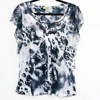 One World Live And Let Live Womens Top Size Large Short Sleeve Black Butterfly