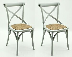 Solid Wood Chair Dining Room Rustic Shabby Chic Cross Back French Retro Bistro