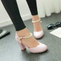 Sweet Cute Womens round toe Ankle Strap Block HeeL Mary Janes Lolita Shoes