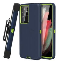 For Samsung Galaxy S21+ Ultra Shockproof Bumper Cover Holster Case +Belt Clip
