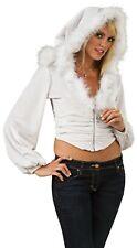 Women's Sexy Mrs. Claus Christmas Snow Bunny Plush Jacket White Santa Hat Hoodie