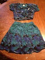 Vintage Carole Little Royal Blue Hawaiin Shirt and Skirt Size 6P(cb37)