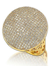 SUZY LEVIAN White Simulated Diamonds Pave Gold o/ Sterling Silver Flat Ring