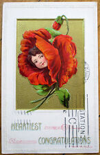 1919 Flower Face/Flowerface Postcard -  Embossed, Color Litho