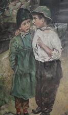 1940 Antique oil painting children portrait signed
