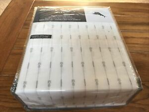 Tommy Bahama - Stone Washed Queen Sheet Set - Pineapple Pinstripe - Gray - New