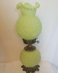 Vintage Fenton Poppy Satin Green Custard Glass Gone With the Wind Lamp
