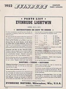 1952 EVINRUDE LIGHTWIN BOAT MOTOR parts catalog (NOS)