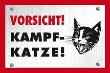 Blechschild - VORSICHT KAMPFKATZE WARNSCHILD QUER KATZE CAT -  20x30 cm 23024