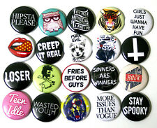 Mixed On Trend Youth Fashion BADGES Buttons Pins x 20 Creep it Real 25mm 1""