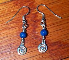 & Bright Blue Bead Dangle Earrings New! Stunning Silver Plated Spiral Charm