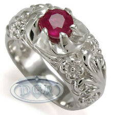 Men's Hand Made Rococo Design Ruby ring in 950 Platinum Sizes 4 to 9.5 #R1265