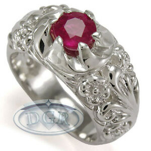 Men's Handmade Rococo Design Ruby ring in 950 Platinum Sizes 7 to 14  #R1265