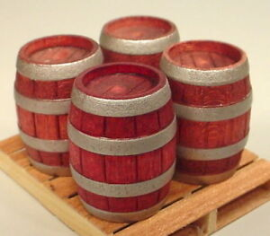 Premium Danbury Mint Beer Barrel Miniatures (4) 1/24 Scale G Diorama Accessories