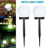 2Pcs LED Solar Round Ball Lights Garden Outdoor Ground Lamp Plug Spike U9B0